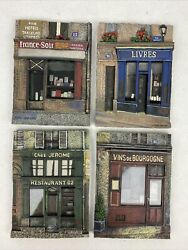 Set Of 4 Chiu Tak Hak 3-d Resin Wall Plaques French Shop Fronts