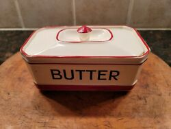 Vintage Butter Dish Red And White By Sadler Kleen Kitchen Ware With Lid