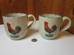 2 Home And Garden Party 2004 Stoneware Rooster 16oz Coffee Cup Mugs Rustic Country