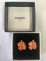 Used Very Rare Earrings Clover 03p Gold Plated Pink 2003 Nice