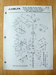 Delta 20 Drill Press Old Style 20-421 20-425 20-428 20-431 Parts List Dp-12