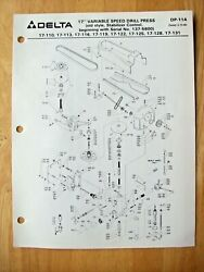 Delta 17 Variable Speed Drill Press Old Style 17-110 17-113 Parts List Dp-11a