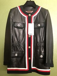 100 Authentic Web Trim Red Crystal Tiger Eye Button Black Leather Jacket