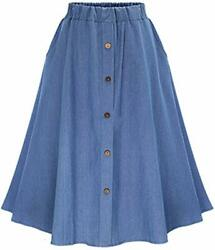 Womens Stretchy High Waist 5-buttons Front A-line Flowy Midi Skirts Lt Blue N M