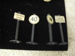 Lot Of 4 Vintage 1950s O Scale Metal Road Or Trainside Signs 2 1/2 Tall
