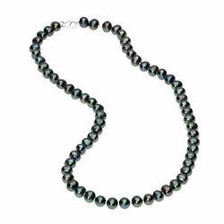 6 7MM Sterling Silver and Black Pearl Necklace 20quot; $29.00