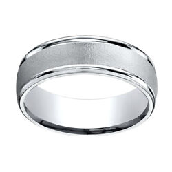 18k White Gold 7mm Comfort-fit Wired-finished High Polished Band Ring Sz-7