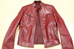 Used Tom Ford Period Tight Fit Leather Riders Jacket Mens 44 Size Red