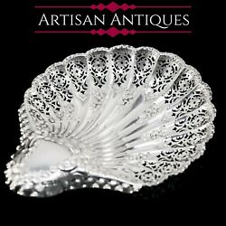 Antique Victorian Large Solid Silver Scallop-shaped Dish/bowl - Henry Atkin 1899
