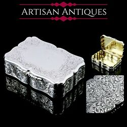 A Large Antique Victorian Solid Silver Table Snuff Box - Edward Smith 1853