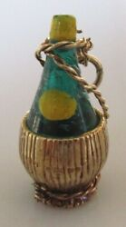 9ct Gold Charm - 9ct Yellow Gold Enamelled Bottle Of Wine And Wicker Basket Charm