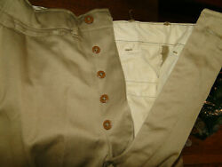 Vintage Us Army Military Uniform Trousers Chino Pant Button Fly Wwii S Z 28 X29
