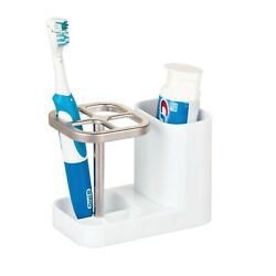 Mdesign Bathroom Vanity Countertop Toothpaste And Toothbrush Holder Stand With ...