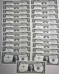 Lot Of 24 Consecutive 1957 A Serial Number 1 Silver Certificates
