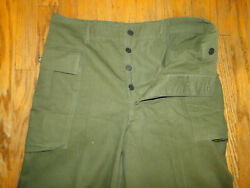 Vintage 40s Wwii 13 Star Buttons Hbt Herringbone Trousers Pant 35 X 33