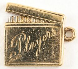 Gold Figural Pack Of Cigarettes Charm Players