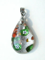 Estate Find Glass Lampwork Teardrop Pendant With Marked 18k White Gold Bail