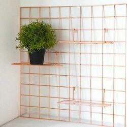 Straight Shelf Storage With Hooks Strong Metallic Wall Grid For Mini Flower Pots