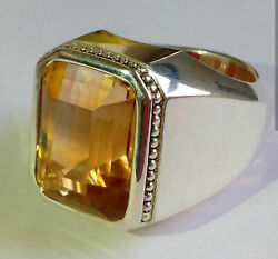 Citrine Solid 925 Sterling Silver Engagement Partywear Boys Ring Gemstone Rz