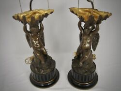 Antique Pair French Bronze Cherub Putti Figures Lamps Gilded Clam Shell