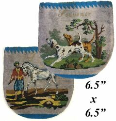 Rare Antique C.1820-30 Beaded Purse Pouch Glass Beads Horse And Dogs Figural