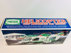 2001 Hess Truck Helicopter With Motorcycle And Cruiser New In Boxandnbsplights Sounds