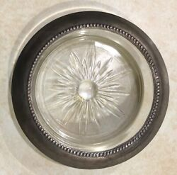 Whiting And Co .925 Sterling Silver Rim / Glass Drink Coaster Vintage Era B