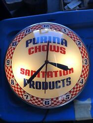 Clean Vintage Purina Chows Sanitation Products Double Bubble Clock Original Sign