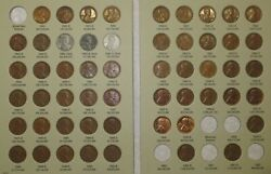 Lincoln Wheat Penny Cent Collection, 1941-1958 Pds Complete 51 Coin Set In Album