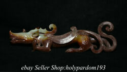 10.8 Chinese Natural Hetian Jade Carved Fengshui Dragon Beast Statue Sculpture