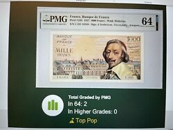 France French 1000 Franc Bank Note 1957 Pmg 64 Unc Pick 134b Top Pop Rarest Date
