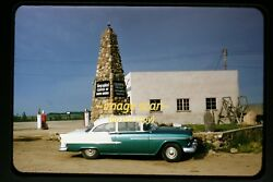 1950's 1955 Chevy Bel Air Car And Gas Station Pumps At Rugby, Nd, Orig. Slide B28a