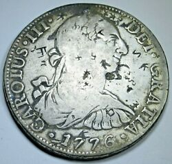 1776 Spanish Mexico Chopmarks Silver 8 Reales Old Us Colonial Dollar Pirate Coin