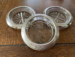 Three Vintage 4andrdquo Wide Sterling Silver Rimmed Trinket Dish Ashtray