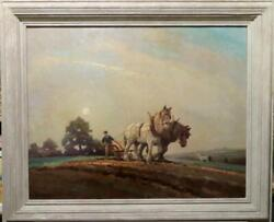 George Ayling Rsma Original Signed Oil Painting The Plough Team Farming At Dusk