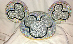 Disney Mickey Mouse Ear Hat Adult Clear And Ab Encrusted Over 7k Rhinestones Ooak