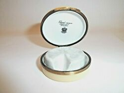 Peint Main Limoges Trinket- Round Box With Block Of Brie Cheese Inside