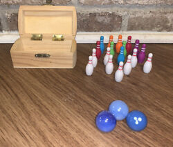 Vintage Mini Tabletop Bowling Game Glass Plastic 1990s Mixed Set
