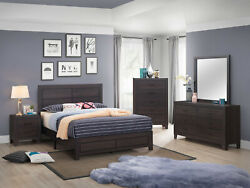Transitional 5pc Queen Size Bedroom Set Brown Finish Bed Dresser Mirror Ns Wood