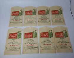 Lot Of 8 1927 Cocacola Coke No Drip Paper Bottle Protector Great Graphics Rare
