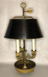French Empire-ormolu Bouillotte 3 Arm French Gilt Bronze Lamp W Metal Tole Shade