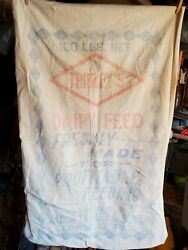 Vintage Jacob Trinley And Son 100lb. Dairy Feed Sack Cloth Grain Bags Linfield Pa