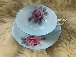 Pre-owned Paragon Blue Teacup And Saucer With Pink Cabbage Rose Vintage