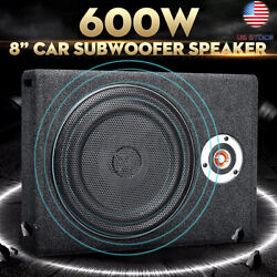 Us 12v 600w Slim Active Car Subwoofer Under Seat Power Supper Bass Sub Box Cable
