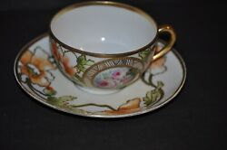 Stunning Ernst Wahliss Art Nouveau Gold Gilded Cup And Saucer Poppy Floral Signed