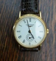 Vtg Rare Longines Sub Second Solid Gold 18k Manual Watch Swiss Lady Perfect