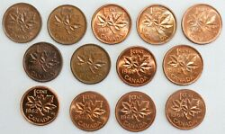 13 Coin Lot 1956-1964 Canada Bronze 1 Cent Coins 1c Canadian Pennies Unc And Pl