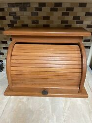 Vintage Wood Roll Top Breadbox Rustic Country Hand Made Crafted Patina Nice