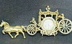 Vintage 1930s Sterling Silver Taylor Horse Drawn Carriage Miniature Clock Brooch