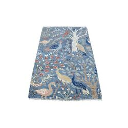 3'1x5' Peshawar Birds Of Paradise Natural Wool Hand Knotted Oriental Rug G67059